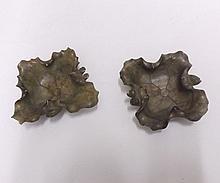 "Two small soapstone foliate shaped Trinket or Ash trays, each 3 ½"" wide"