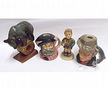 Two Royal Doulton Candlesticks, The Poacher, D6464 and Falstaff, D6385; a further Hummel Figure No 97 of a boy with trumpet (losses) and a Russian Model of a bear perched on a ring (4)