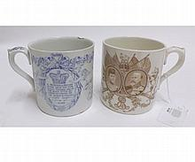 "Two Royal Doulton Royal Commemorative Mugs: 1902 Edward and Alexandra Coronation Mug and Victoria 1897 Jubilee Commemorative Mug with presentation inscription ""Presented by the Mayor of Grimsby Councillor Jack Sutcliffe June 1897"" (rim chip) (2)"