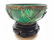 "An Oriental White Metal Mounted Jade or Jadeite Circular Bowl of tapering form, 4 ¼"" high"