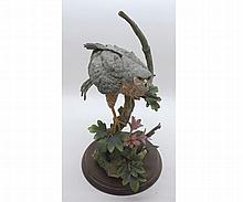 """Country Artists model """"Sparrowhawk with Field Maple"""" by David Ivey, raised on wooden plinth base, 13"""" high"""