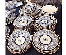 Good quantity Royal Worcester blue and white Lily pattern Table wares comprising three graduated Meat Plates, oval Serving Dish, circular double handled Serving Dish, quantity of various Soup Bowls, Dinner Plates and Side Plates, (qty)