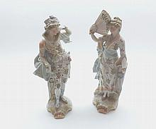 "Pair of late 19th Century Continental figures in classical dress raised on plinth bases, 10"" high"