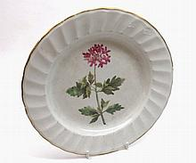 "Early 18th Century Derby Cabinet Plate, the centre decorated with floral spray, the border with ribbed detail and gilt highlights, 9 ¼"" diameter"