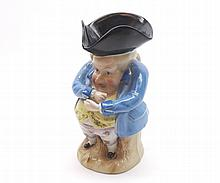 """Late 19th or early 20th Century Continental Toby Jug modelled as a gent in tricorn hat, 6 ¾"""" high"""