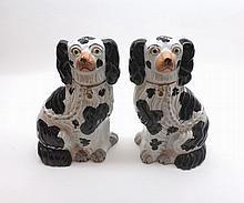 "A pair of 19th Century Staffordshire Black and White Model Spaniels, 8"" high"