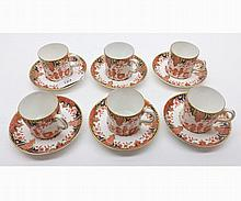 "A Royal Crown Derby six Coffee Cans and Saucers, Pattern No 2712, saucers 2 ¼"" wide"