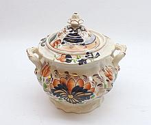 """19th Century Staffordshire double handled Sugar Basin decorated with stylised foliage on a pale background, 6"""" high"""