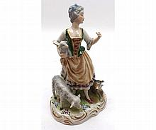 "Volkstadt figure of a young shepherdess raised on a plinth base, 6 ½"" high"