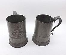 """Two 19th Century glass bottomed Pewter Tankards, one bearing inscription for Caius Boat Club (University of Cambridge) and dated 20th November 1849, both 6 ¼"""" high (2)"""
