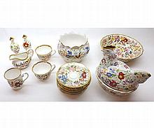 A quantity of Hammersley & Marquis Queen Anne pattern Table Wares comprising: hen-shaped Egg Crock, pair of Sugar Shakers, Jardinière, Fruit Bowl, Salt Pots and quantity of various Tea Wares (qty)