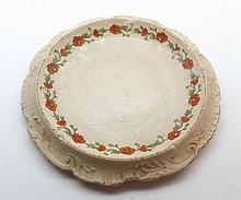 """Poppyland Ware Ham Stand of shaped circular form, bearing retailers mark Rounce & Wortley Cromer, number 626035 to base, heavily crazed and discoloured, 10 ½"""" diameter"""