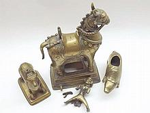 """Mixed lot comprising a late 19th/early 20th Century Oriental Brass Horse and Rider, together with a further model Oxen and further Piglet, largest piece 10"""" high (3)"""
