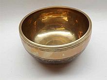 """Oriental polished Bronze circular Singing Prayer Bowl, 7 ½"""" diameter"""
