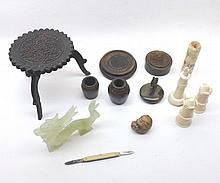 A Mixed Lot of various Staunton type Chess Pieces, glass Model of a dragon, Oriental Circular Table Seal etc