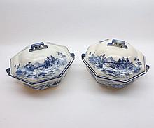 "A pair of Royal Doulton Norfolk pattern octagonal Covered Double-Handled Vegetable Dishes, 10"" wide including handles"