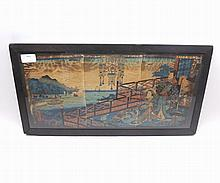 """Pair of 19th Century fabric needlework Oriental pictures, decorated with figures and marine scenes, frames 20"""" wide"""