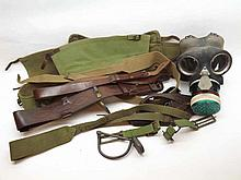 A Vintage Gas Mask and various webbing and belts etc