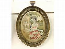 "An oval framed late 18th/early 19th Century Silk Work Picture of a girl with bird, frame 9 ¼"" high"
