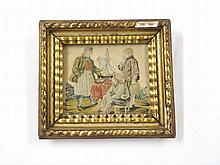 "A rectangular framed 19th Century Silk Work Study of three figures with a model boat, in heavy gilt frame, 9 ½"" wide"