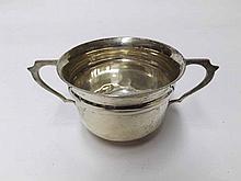 An Edward VII Silver Double-Handled Small Sugar Basin, raised on a circular base, hallmarked London 1906, weight 55 gm