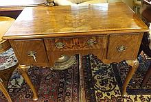"""Late 19th or early 20th Century Queen Anne style Walnut Lowboy of one long and two short drawers, raised on cabriole legs with shell carved knees, 36"""" wide"""
