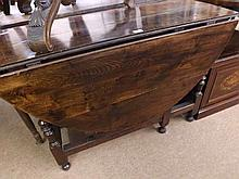 "18th Century oval Oak Gate Leg Table, raised on turned legs, 46"" wide"
