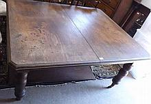"""Victorian Mahogany extendable Dining Table of rectangular form with canted corners, raised on turned legs and casters, 57"""" wide"""