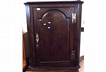 """19th Century Oak corner cabinet, single door with arched detail and Brass hinges and escutcheon, 30"""" wide"""