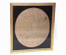 "Early 19th Century Needlework Map of England worked by S. Stallibras dated 1882, of oval form, in modern gilt finish frame, 27"" high"