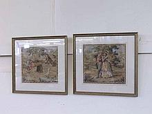 """Pair of square needlework pictures depicting Children on a Seesaw and a Couple in Classical Dress, frames approx 15"""" square"""