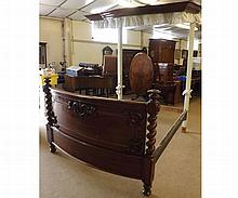 """Victorian Half Tester Bed, the bowed footboard with barley twist and floral decoration, the Mahogany framed canopy with pleated fabric lining and hanging, requires some restoration throughout, 65"""" wide, 91"""" high"""