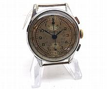 """A mid-20th Century Chrome plated, two-button, centre seconds, Chronograph, Breitling, the 17-jewel """"Venus"""" 170 movement to a signed and silvered circular dial with outside telemeter track enclosing second and minute tracks and Arabic chapter Ring"""