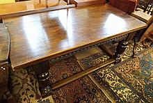 """A reproduction rectangular Oak Dining Table raised on heavy turned legs and stretcher base, 66"""" long"""