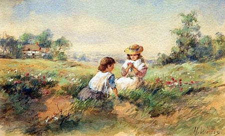 HENRY WALLIS, RWS  (1830-1916, BRITISH)  - Young Girls Picking Flowers