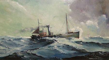 JOE CROWFOOT, SIGNED OIL, The Lowestoft Trawler