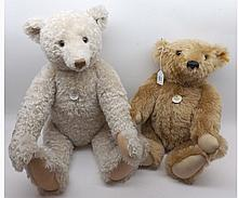 A Steiff 1903 replica bear in light brown mohair together with a cream curly moh
