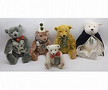 A collection of Steiff musical bears made for Harrods to include Clown bear, Ope
