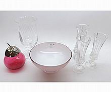 A Mixed Lot comprising: a Pink Art Glass Pedestal Dish; a small Cranberry Preser