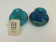 "A pair of Mdina squat circular Art Glass Vases, 2 ½"" high"