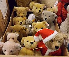 A box containing a quantity of assorted Steiff Collectors Teddy bears to include