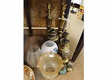 A Mixed Lot of assorted brass and base metal Oil Lamps and Table Lamps, plus thr