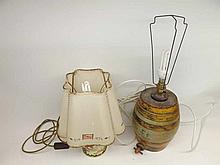 A Mixed Lot comprising: a vintage ceramic Rum Barrel formed into a table lamp an