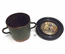 Mixed lot comprising small Arts and Crafts style circular double handled Beaker