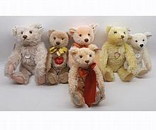 Six Steiff bears to include Teddy Rose, replica 1925, Music Teddy, 1951 replica,