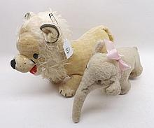 Vintage Merrythought plush Lion together with an unmarked Elephant