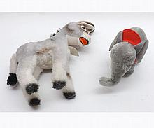 Steiff Donkey Grissy, together with a small Steiff Elephant (2)