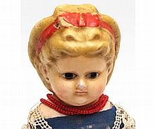 A mid-19th Century Wax Over Composition Pumpkin Head Doll, inset brown glass eye