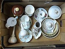 A Box of various mixed Ceramics to include pair of plain Royal Worcester Stem Va