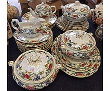A good quantity Booths Flora Dora pattern Table Wares comprising: three Covered